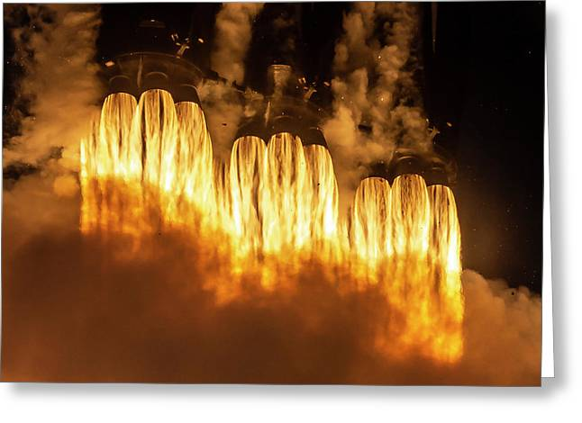Falcon Heavy Fire And Smoke Greeting Card
