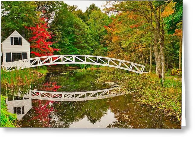 Fall Footbridge Reflection Greeting Card