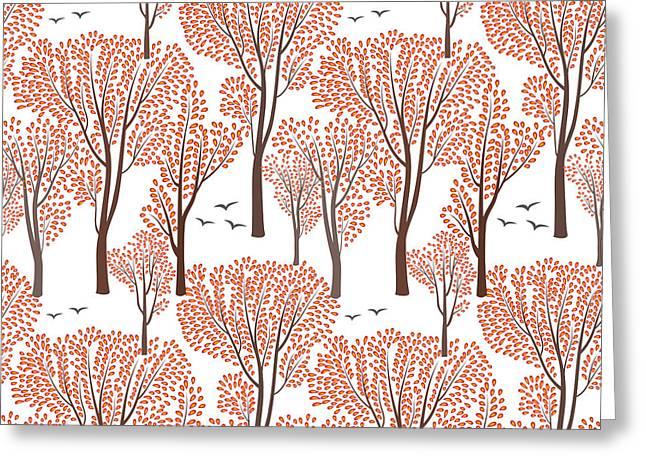 Fall Nature Wildlife Seamless Pattern Greeting Card