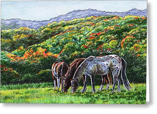 Fall Ranch Grazing Horses  Greeting Card
