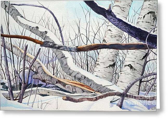 Fallen Birch Trees After The Snowstorm In Watercolor Greeting Card