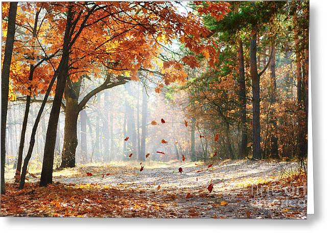 Falling Oak Leaves On The Scenic Autumn Greeting Card