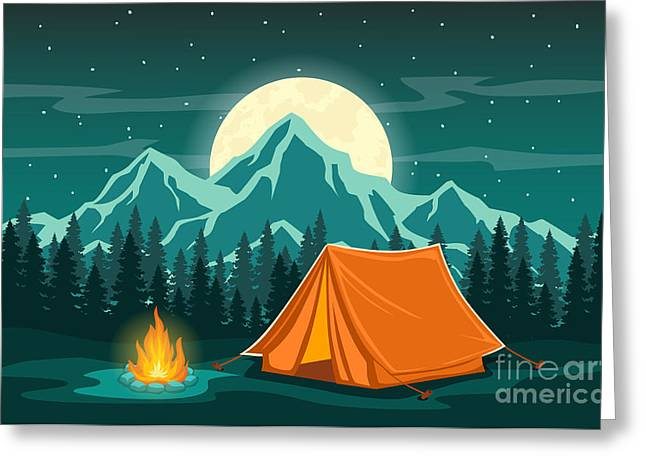 Family Adventure Camping Evening Scene Greeting Card