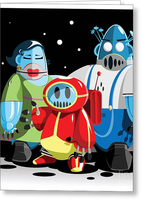 Family Of Moon Robots Greeting Card