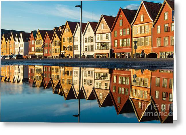 Famous Bryggen Street With Wooden Greeting Card