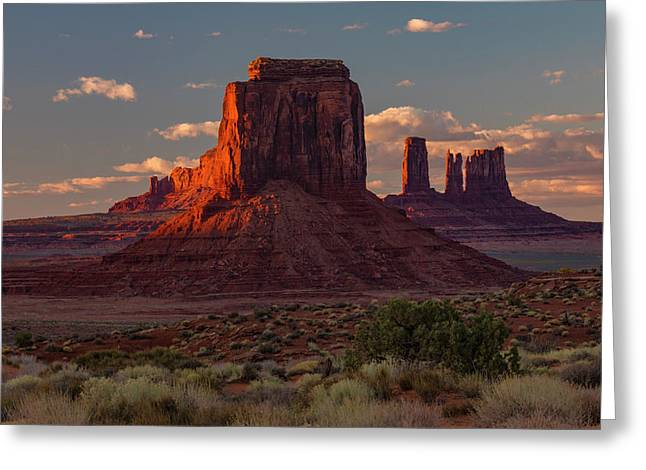 Famous Buttes Of Monument Valley Greeting Card by Adam Jones
