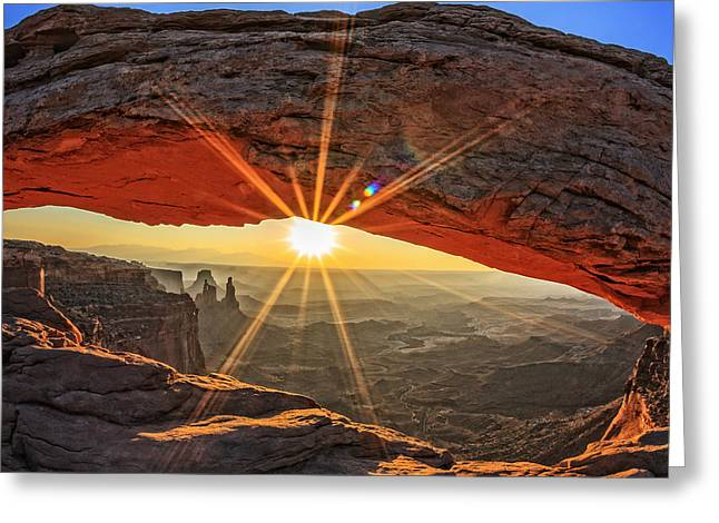 Famous Sunrise At Mesa Arch In Greeting Card