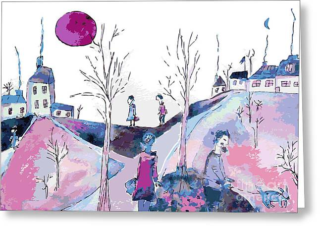 Fantastic Landscape With Sad People And Greeting Card