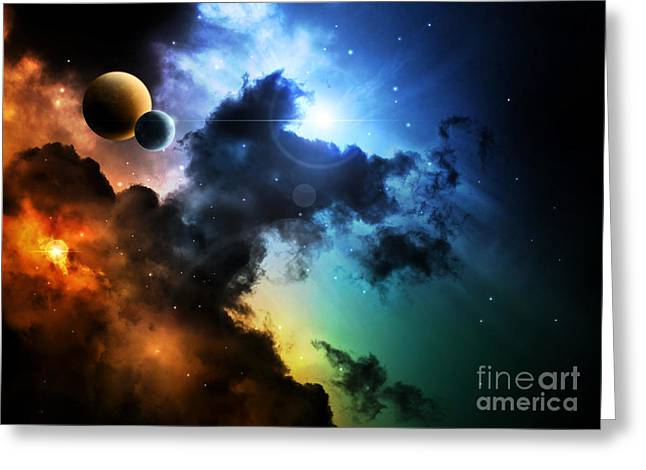 Fantasy Deep Space Nebula With Planet Greeting Card