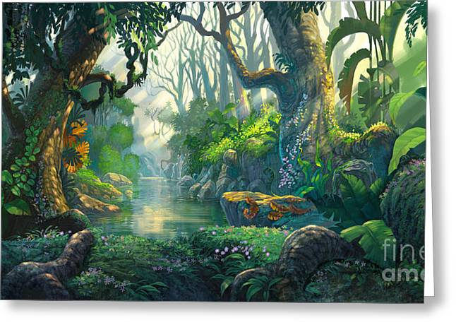 Fantasy Forest Background Illustration Greeting Card