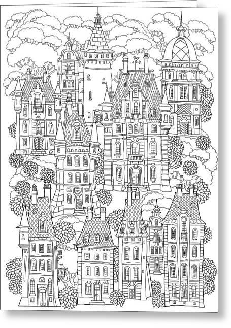 Fantasy Landscape. Fairy Tale Castle Greeting Card