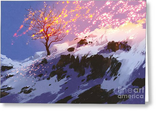 Fantasy Landscape Showing Bare Tree In Greeting Card