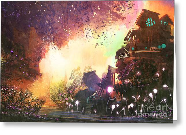 Fantasy Landscape With Ancient Greeting Card