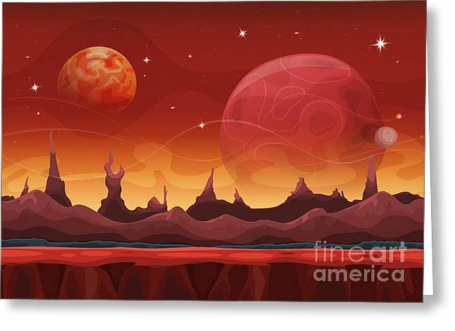 Fantasy Sci-fi Martian Background For Greeting Card