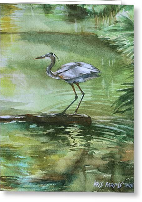 Far Harbor Heron Greeting Card