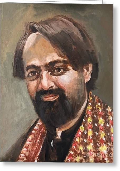 Greeting Card featuring the painting Farhan Shah by Nizar MacNojia