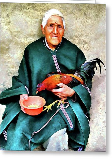 Farmer With Fighting Roosterr - Peru Greeting Card