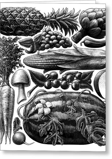 Greeting Card featuring the drawing Farmer's Market - Bw by Clint Hansen