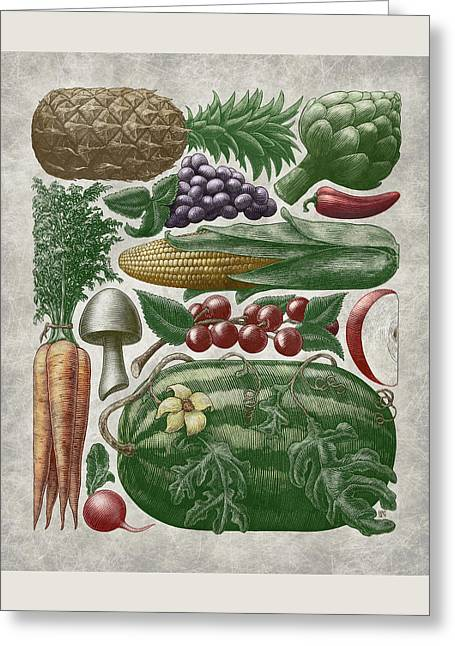 Greeting Card featuring the drawing Farmer's Market - Color by Clint Hansen
