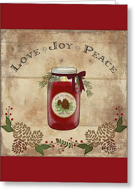 Farmhouse Christmas Lodge Love Joy Peace Greeting Card