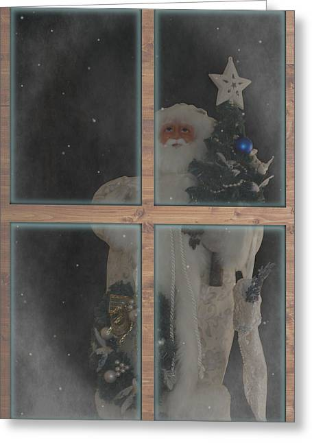 Father Christmas In Window Greeting Card