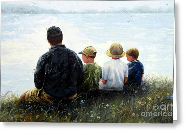 Father Three Sons By Lake Greeting Card