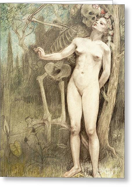 Female Nude With Death As A Skeleton, 1897  Greeting Card