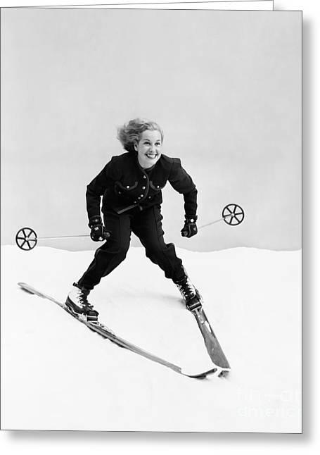 Female Skier Skiing Downhill Greeting Card