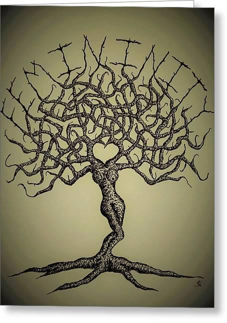 Femininity Love Tree B/w Greeting Card