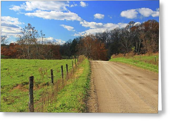 Greeting Card featuring the photograph Fence And Country Road by Angela Murdock