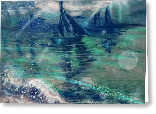 Feng Shui Your Life - Lucky Sailing Boat Greeting Card by Remy Francis