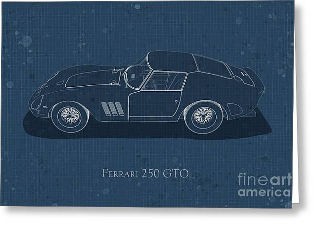 Ferrari 250 Gto - Side View - Stained Blueprint Greeting Card