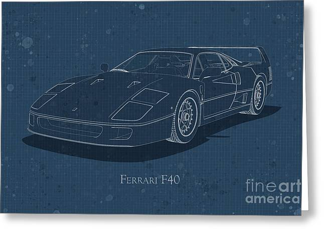 Ferrari F40 - Front View - Stained Blueprint Greeting Card