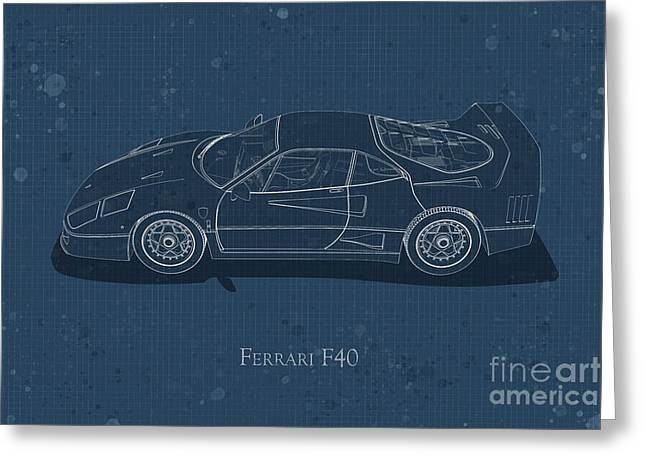 Ferrari F40 - Side View - Stained Blueprint Greeting Card