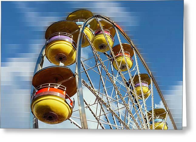 Ferris Wheel On Mosaic Blurred Background Greeting Card