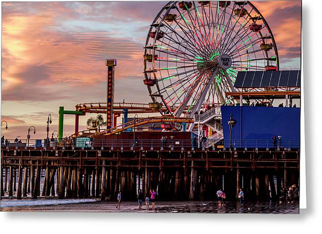 Ferris Wheel On The Pier - Square Greeting Card