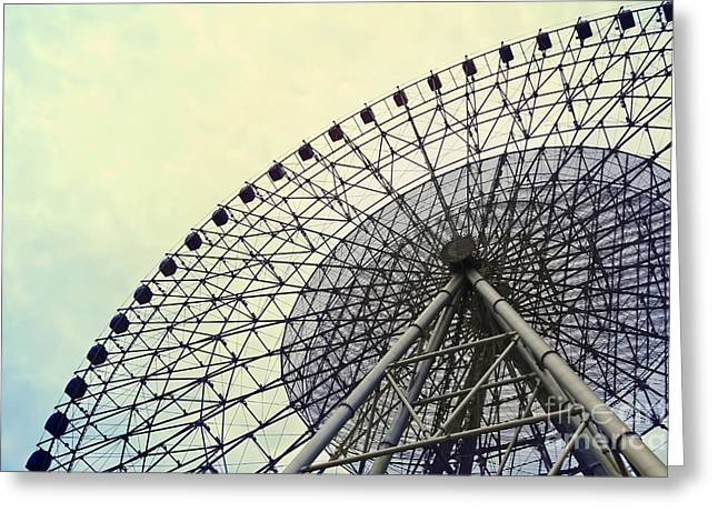 Ferris Wheel With Sky Background Greeting Card