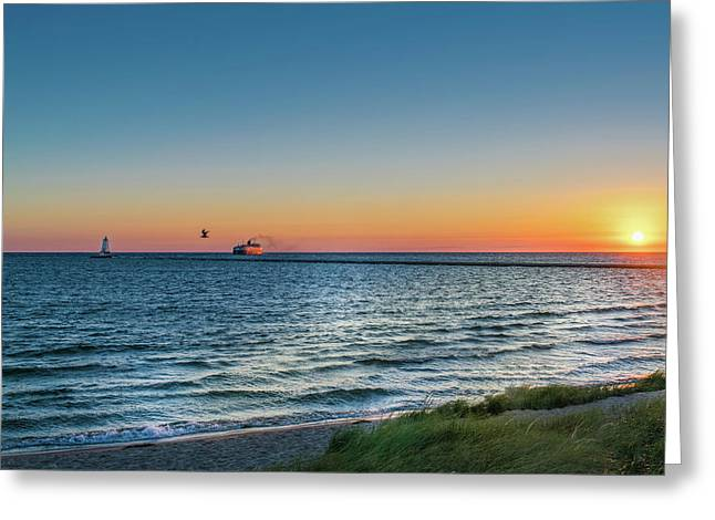 Ferry Going Into Sunset Greeting Card