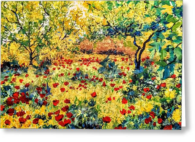 Greeting Card featuring the painting Field Of Poppies by Ray Khalife
