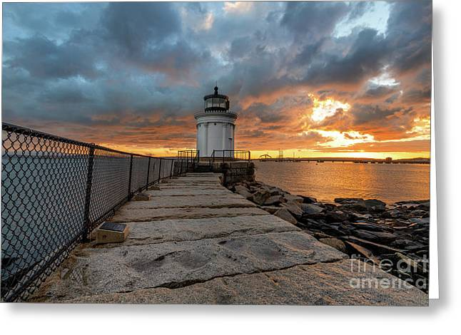 Fiery Skies At Bug Light Greeting Card