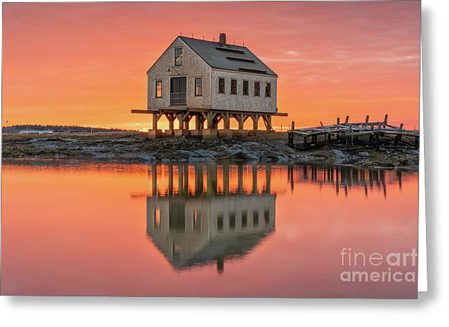 Fiery Skies At Cape Porpoise Greeting Card