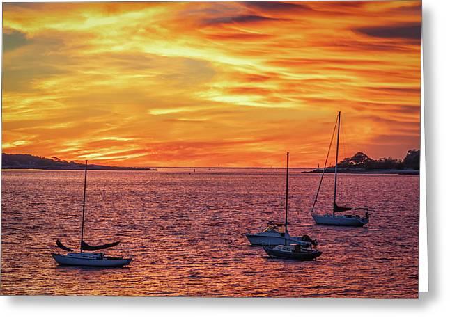 Fiery Sunrise Over Casco Bay Greeting Card