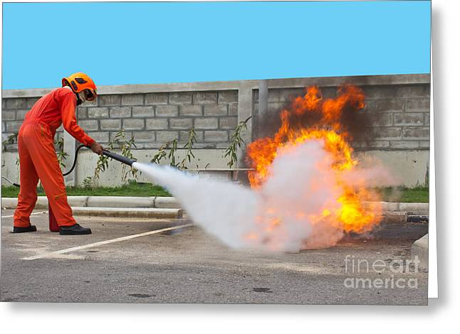 Fighting Fire During Training Greeting Card by Yutthaphong