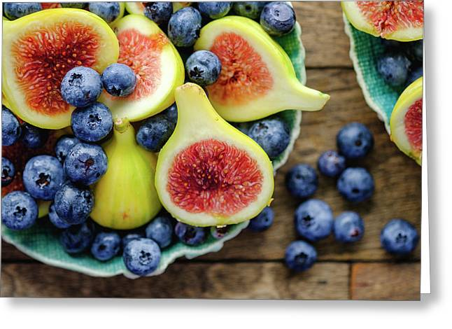 Greeting Card featuring the photograph Figs And Blueberries by Nicole Young