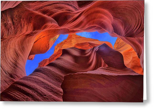 Fire Beneath The Sky In Antelope Canyon Greeting Card
