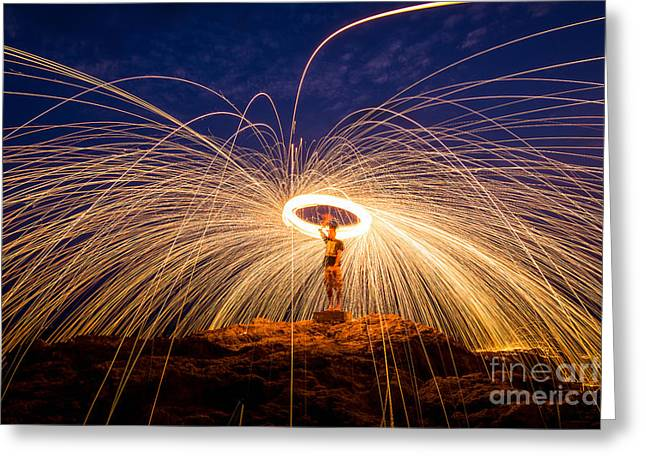 Fire Dancing On The Rocks Greeting Card