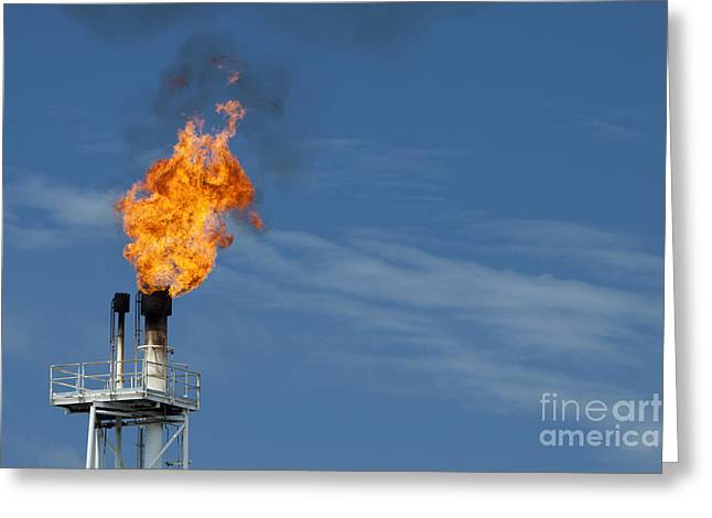 Fire On Rig In The Gulf Of Thailand Greeting Card