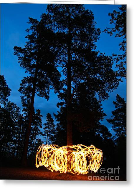 Fire Spinning At Night In Forest Greeting Card