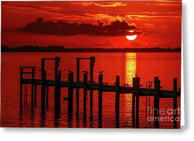 Fireball And Pier Sunrise Greeting Card