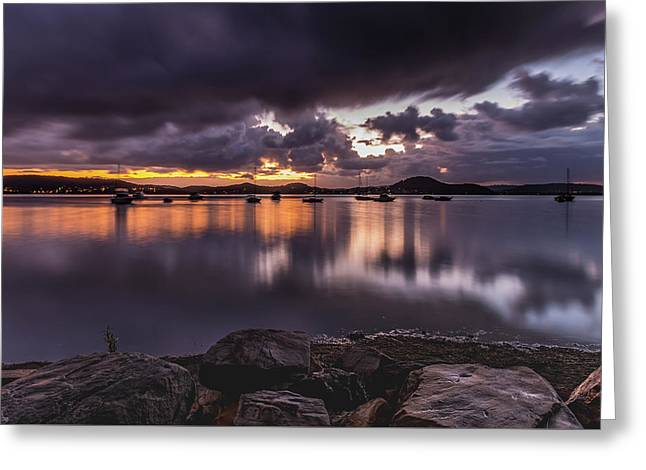 First Light With Heavy Rain Clouds On The Bay Greeting Card